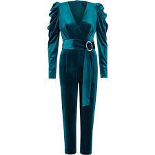 blue velvet jumpsuit turquoise blue puff shoulder velvet jumpsuit playsuits