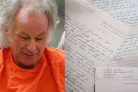 Ivan Milat who murdered Caroline Clarke who was backpacking in Australia. Right, letters by the killer which are up for auction - ivan-milat-526547311-1384744