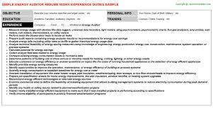Auditor Resume Sample Energy Auditor Resume Sample