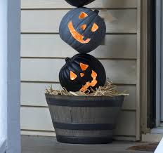 Front Porch Topiary Lighted Outdoor Halloween Pumpkin Topiary Diycandy Com