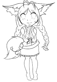 anime fox cute coloring pages coloring home