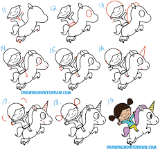 how to draw a cute kawaii chibi riding a unicorn in easy