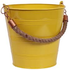 decorative yellow pot planter in metal u2013 bucket shaped u2013 jute
