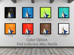 blue marlin fish head art green home decor wall art nautical beach
