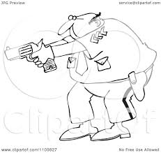 clipart outlined cartoon police officer aiming his gun royalty