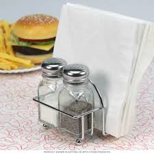 glass salt and pepper shakers with napkin holder kitchen