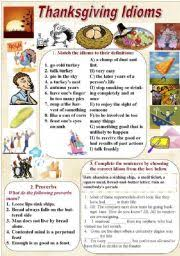thanksgiving idioms and proverbs with