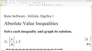 kutasoftware algebra 1 absolute value inequalities part 1 youtube