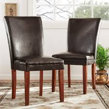 home decorators collection dark brown leather side chair set of 2