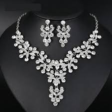 silver bridal necklace set images Butterfly crystal bridal jewelry set silver statement necklace set jpg