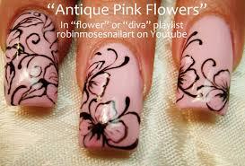 pink flower with black filigree nail art design tutorial long