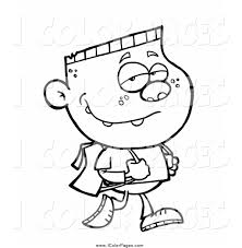 vector coloring page of a black and white happy walking boy