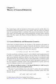 theory of general relativity springer