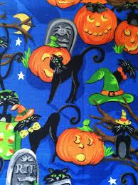 Halloween Cat Fabric Halloween Cotton Fabric Sale Pumpkin Black Cat Halloween Farbic