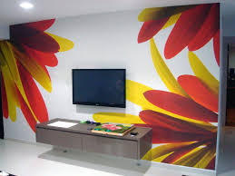 living interior decoration cool red and yellow flower wall