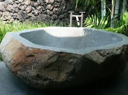 tropical bathroom outdoor bath design natural stone wall wooden
