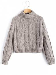 how does it take to knit a sweater turtleneck cropped cable knit sweater gray sweaters s zaful