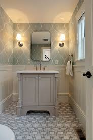 Powder Room Cabinets Vanities Grey Vanity With Wallpaper And Patterned Tile Www Encoreco Com
