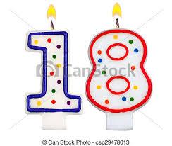 number birthday candles birthday candles number eighteen isolated on white stock