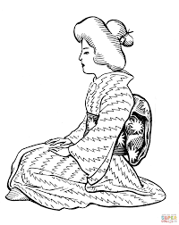 japanese woman wearing kimono with obi sash coloring page free