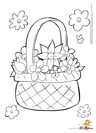 sketch flowers and basket flower throughout coloring pages