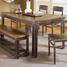 nice rustic dining room table with bench interesting dining room