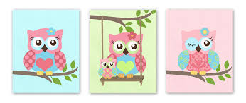 owl decor owls nursery art baby girl nursery art set of 3 prints