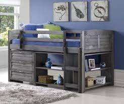 Donco Bunk Bed Louver Low Loft Bed With Storage Antique Grey 790aag B Donco