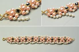 white pearl bracelet images Pearl bracelet pattern how to make wide pink and white pearl jpg