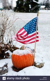 snow covered pumpkin and american flag in a snow covered yard just