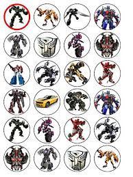 24 precut transformers edible wafer paper cake toppers decorations 24 transformers edible wafer paper cup cake toppers co uk