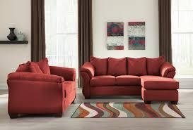 red living room set darcy salsa 75001 ashley livingroom set