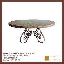 130 dining round table iron base chocolate finish mesquite top