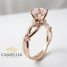butterfly engagement rings pink morganite engagement ring 14k gold engagement ring