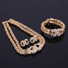 rhinestone necklace bracelet images Women wedding party rhinestone necklace bracelet ring earrings set jpg