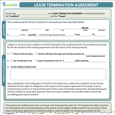 Termination Of Contract Notice by Florida Lease Termination