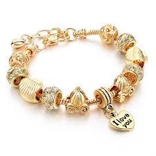 bracelet luxury crystal images Luxury crystal heart charm bracelets bangles gold bracelets for jpg
