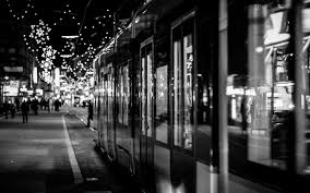 black and white christmas wallpaper night in the city christmas lights widescreen wallpaper wide