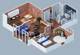 Apartment Designs Shown With Rendered D Floor Plans - Apartment complex designs