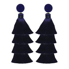 suzanna dai earrings overlay tassel gumball earrings navy suzanna dai jewelry