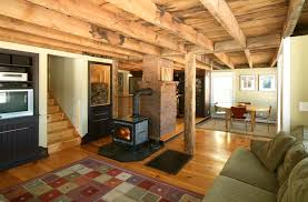 Wood Stove Rugs Rustic Themed Of Classy Basement Room Idea Using Reclaimed Wood