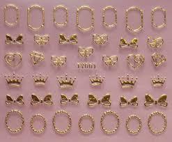 12 design 3d nail art metal gold nail sticker bows heart teddy