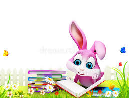 easter bunny books pink bunny reading books in the garden stock illustration
