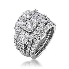 white gold wedding sets fairytale diamonds collection cluster wedding set in 14 kt white