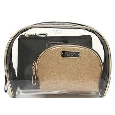 victoria s secret bag victorias secret 334019 19q cosmetic bag trio cosmetic pouch gold black