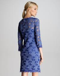 rebecca taylor lace scalloped shift dress in blue lyst
