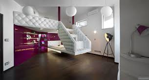bi level homes interior design split level plush futuristic retro bedroom in white and patent