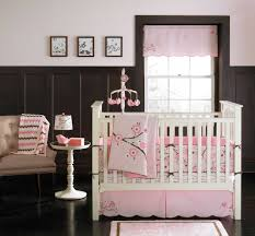 Brown Baby Crib Bedding White Wooden Baby Crib With Pink Bedding Set Combined By Brown