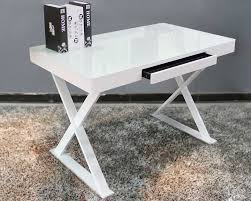 Modern Glass Top Desk White Metal Glass Office Desk