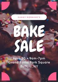pink cupcake bake sale flyer templates by canva